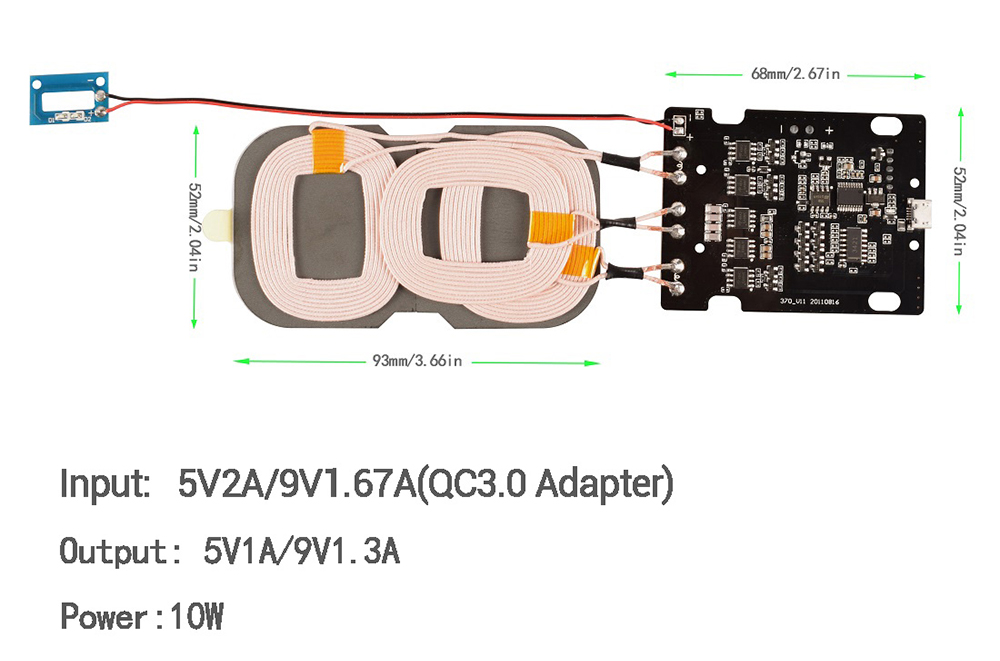 Qi Wireless Charger PCBA Circuit Board Three Coils for DIY