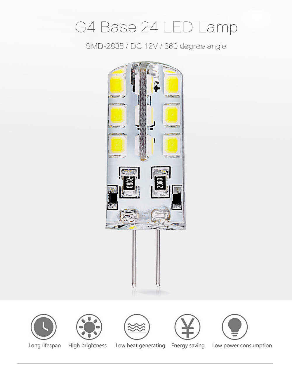 10pcs 5W ( True 1.8 - 2W ) G4 Base 24 LED Lamp DC 12V Warm White Light Undimmable 360 Degrees Beam Angle