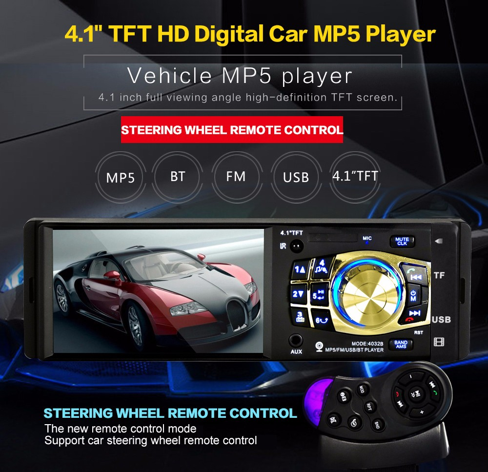 4032B 4.1 inch Vehicle-mounted MP5 Bluetooth Car Radio Multimedia Player Audio Video Display with Remote  Control
