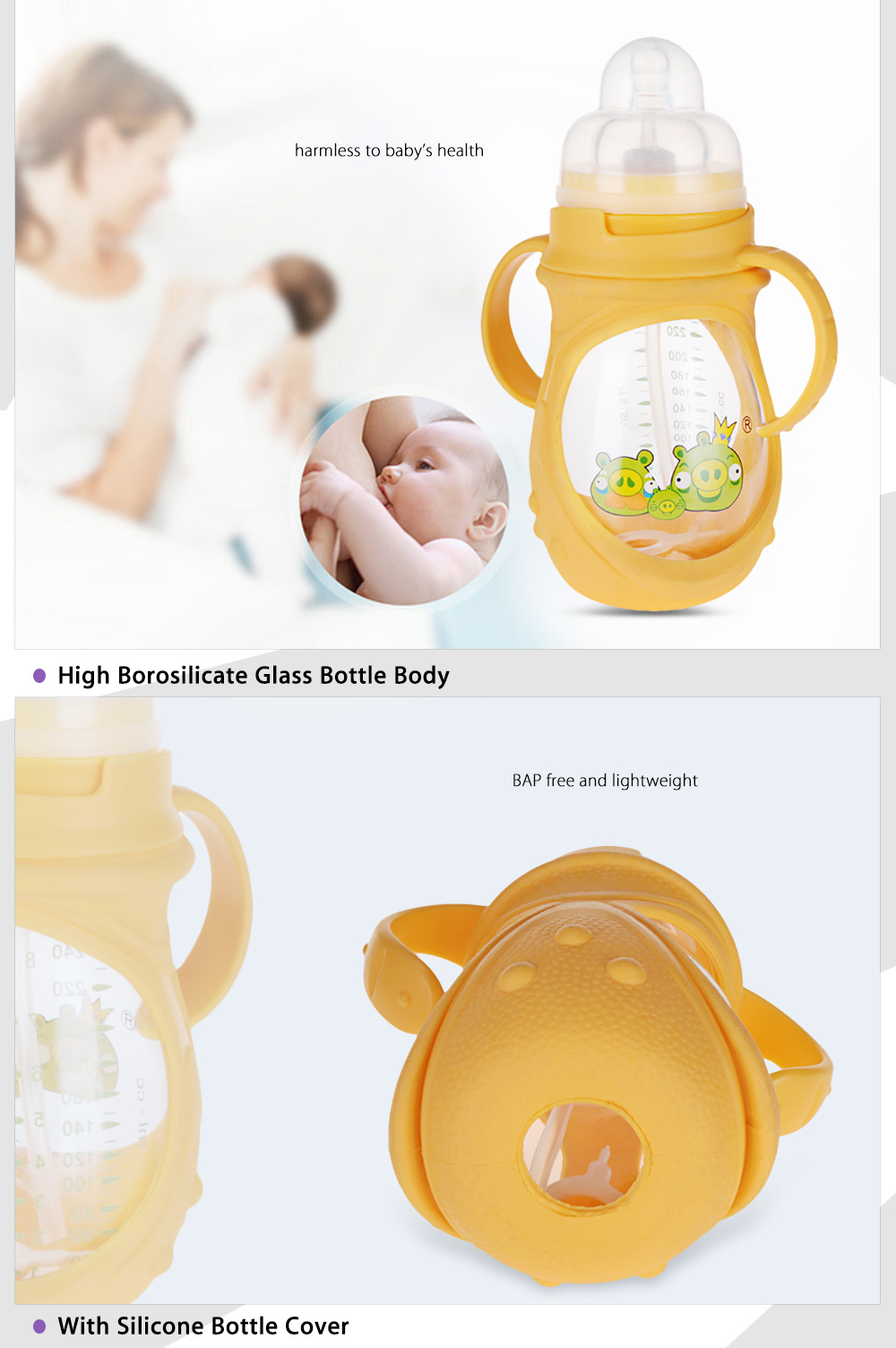 DML 240ml Cute Cartoon Wide Caliber Silicone Skidproof Babies Feeder