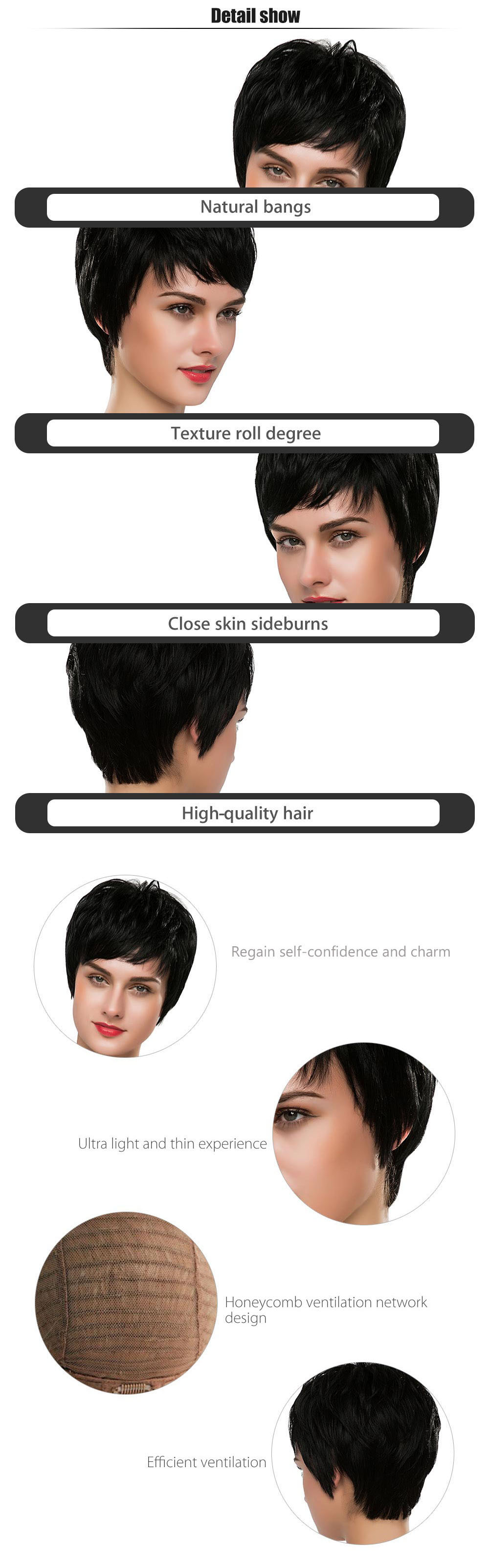 EMMOR Stylish Short Straight Capless Full Human Hair Wigs with Side Bangs