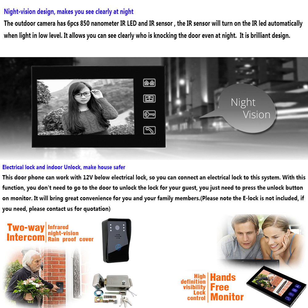 SY816A11 7 Inches Video Door Phone Intercom Doorbell Touch Button Remote Unlock Night Vision Security Camera
