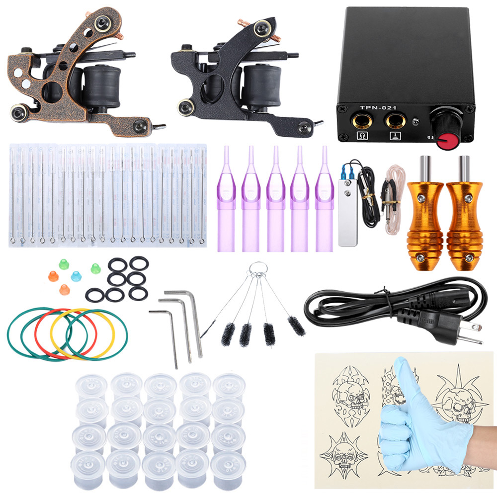 Tattoo Kit 2 Iron Machine Gun Shader Liner Foot Pedal Switch Mixed Needles