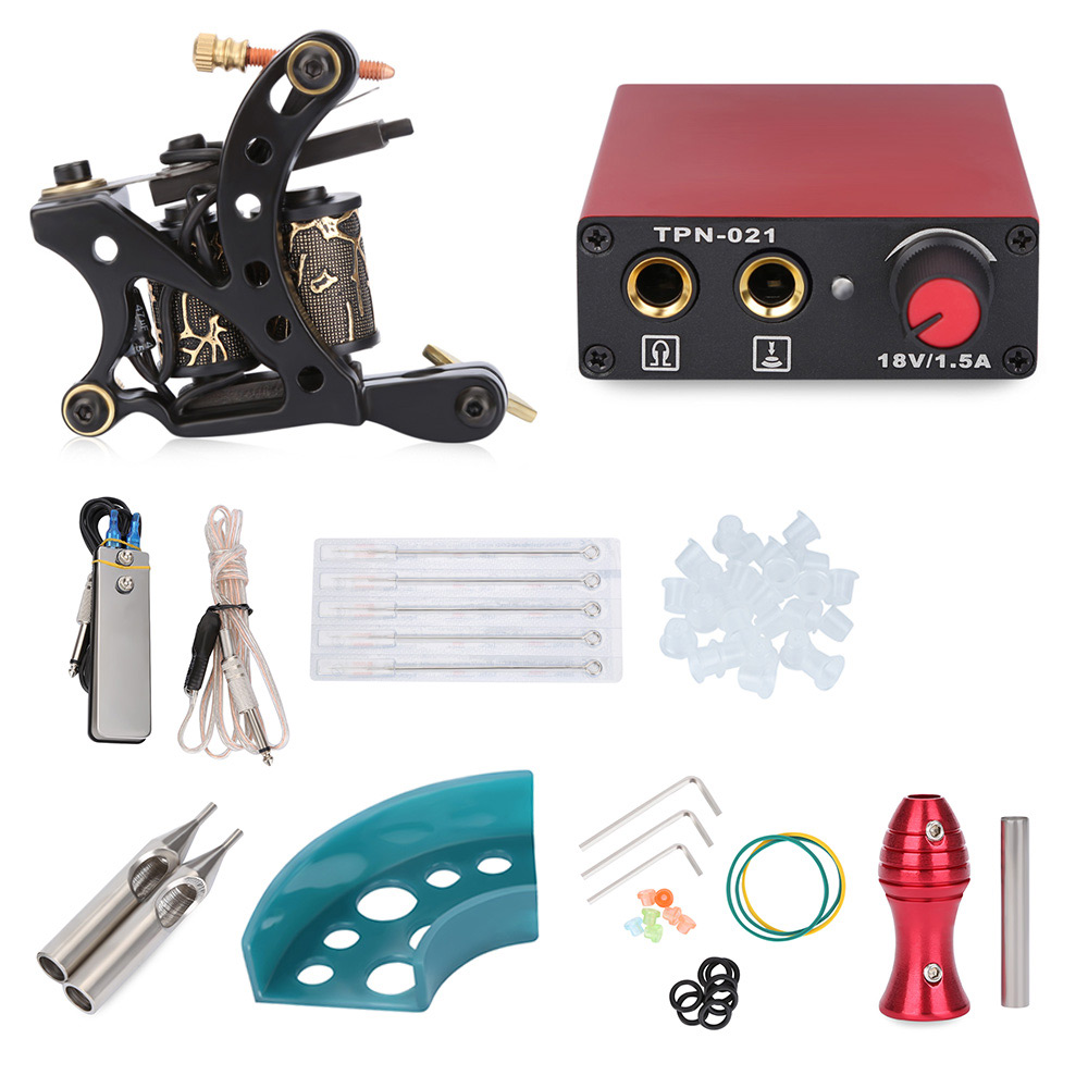 Tattoo Kits Wrap Coils Gun Shader Power Supply Disposable Needles