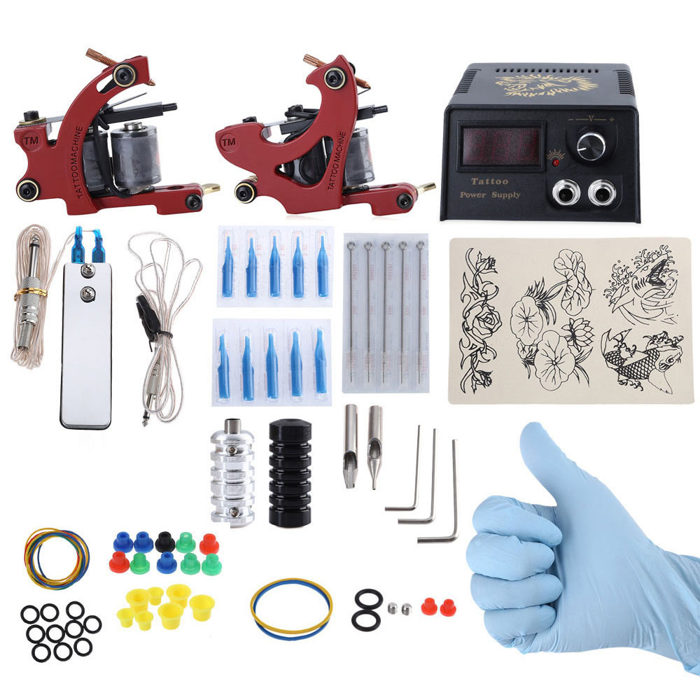 Complete Tattoo Kit 2 Tattoo Machines Power Supply System