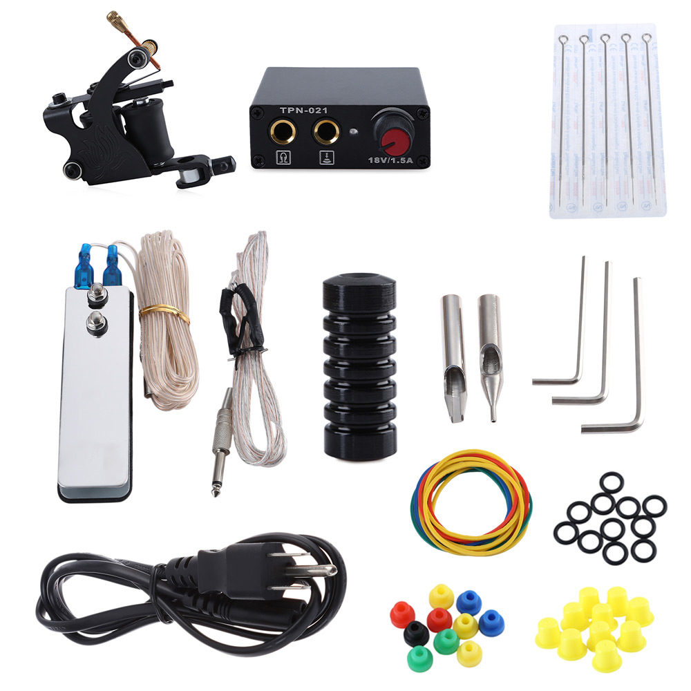 Tattoo Machine Kit 8 Wrap Coils Gun Needles Power Supply for Beginner