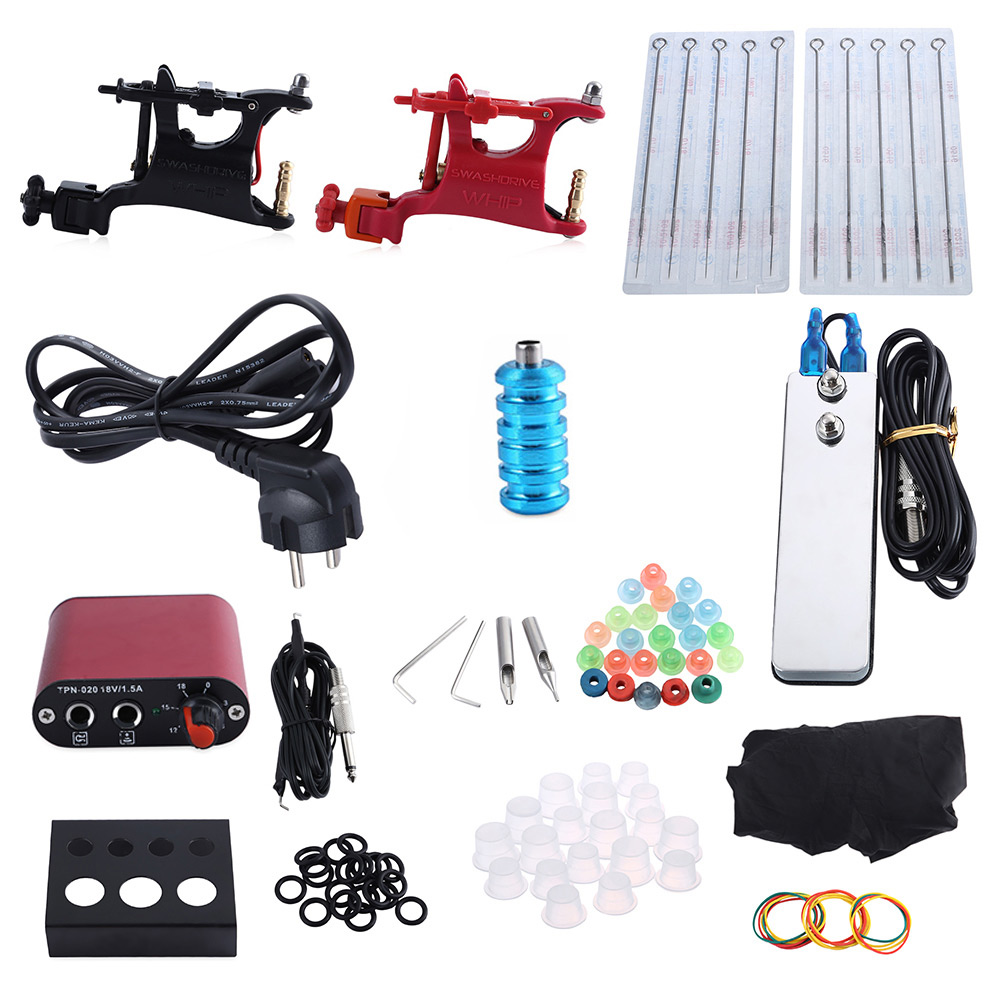Complete Tattoo Kit Professional 2 Rotary Motor Machine Guns Power Supply Foot Pedal