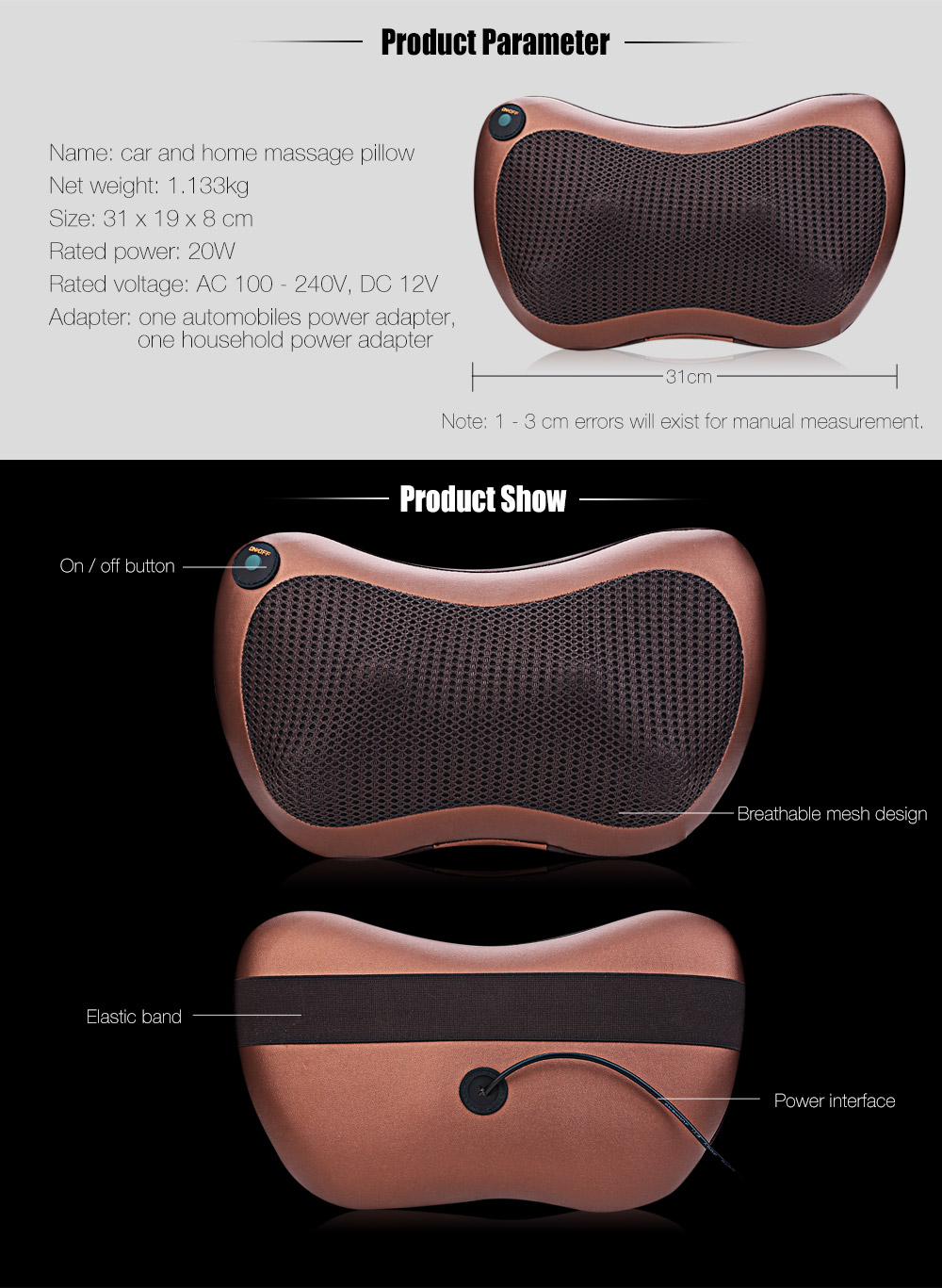 Multifunction Massager Pillow Automobiles Home Dual-use Infrared Heating