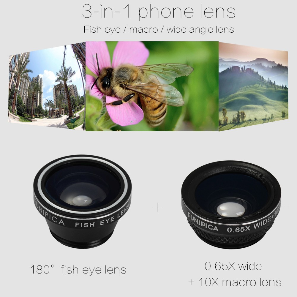 FUNIPICA Xmas Tree Mobile Phone 3 in 1 180 Degree Fisheye Macro 0.65X Wide Angle Clip-on Lens