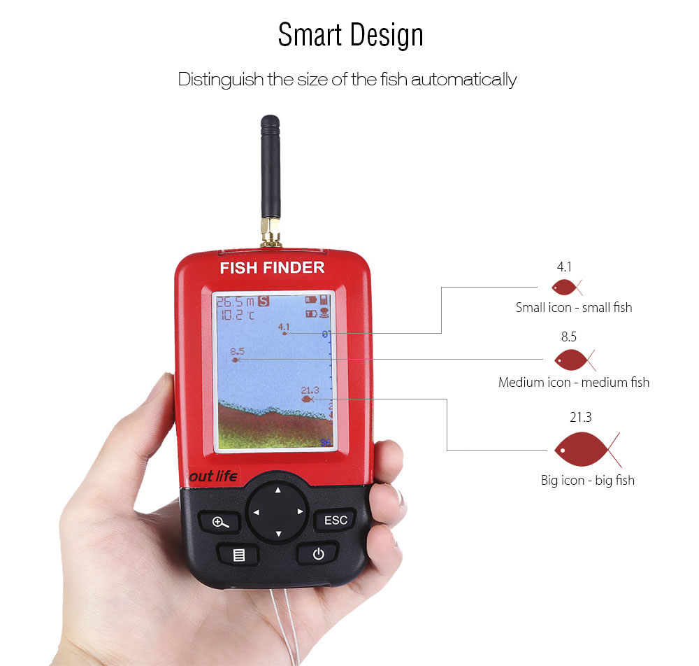 outlife wireless sonar sensor portable fish finder-65.33 online, Fish Finder