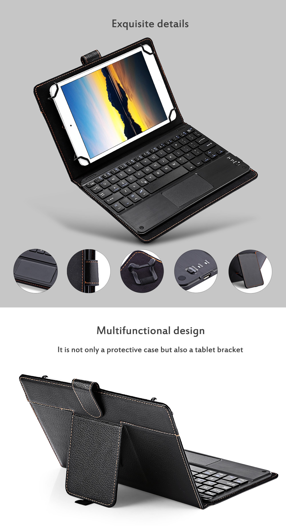 3 in 1 Universal Bluetooth Keyboard Touch Control Tablet Case with Kickstand for iOS / Android / Windows 8 - 8.9 inch