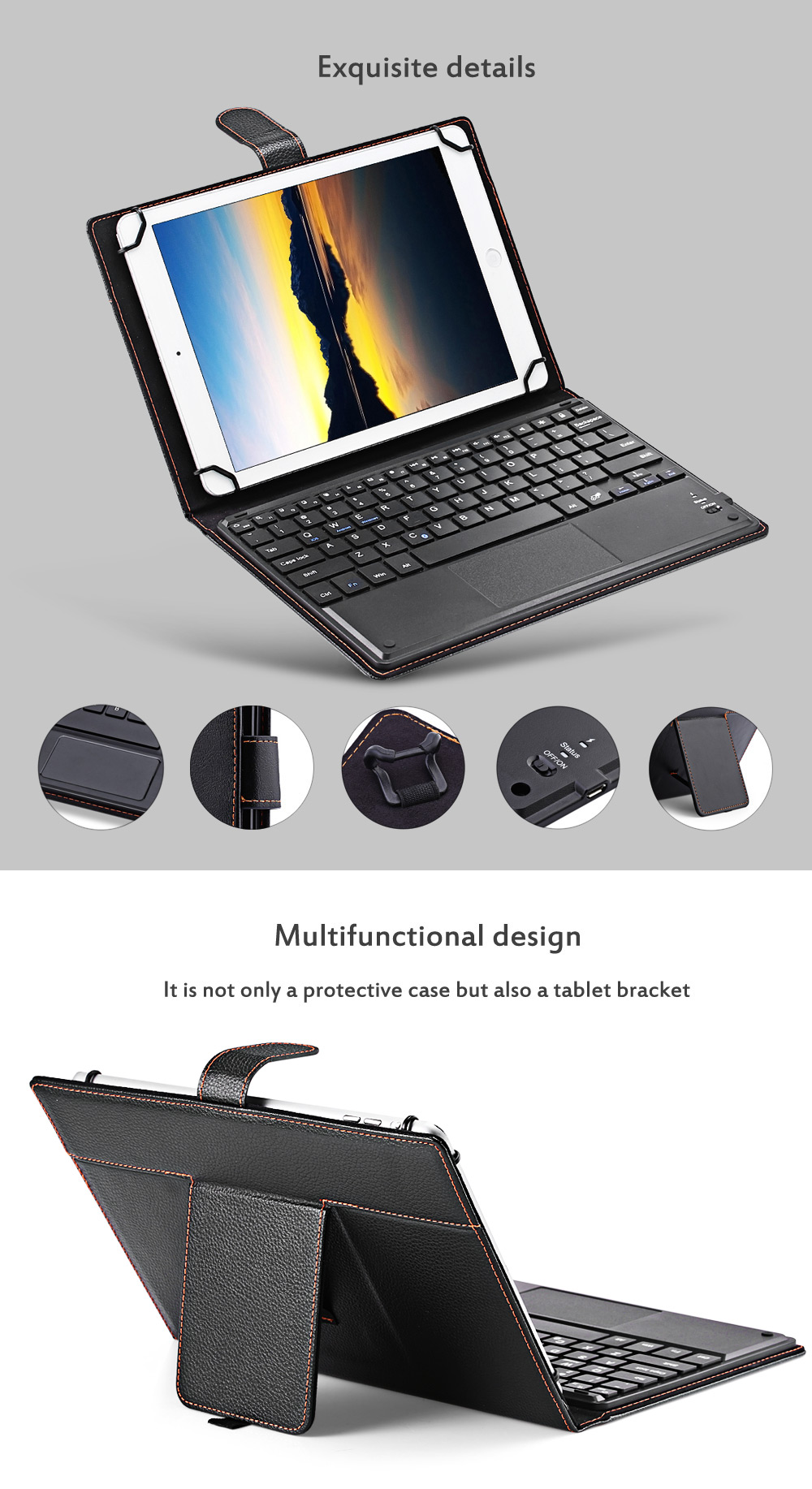 3 in 1 Universal Bluetooth Keyboard Touch Control Tablet Case with Kickstand for iOS / Android / Windows 9 / 10 inch