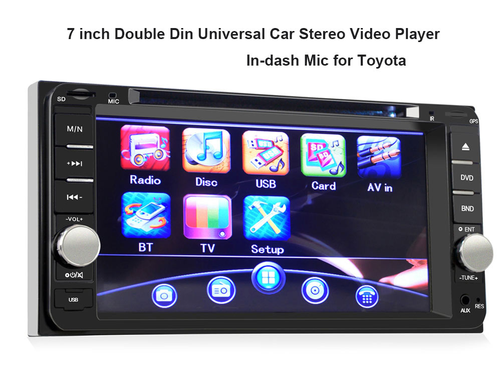 7 inch Car DVD Player Universal Double Din Stereo Radio with Remote Control for Toyota