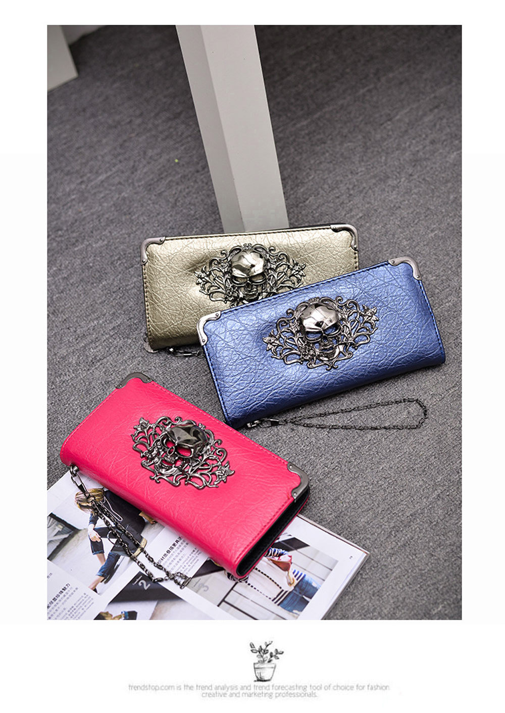 Guapabien Old Classical  Punk Handbag Zipper New Wallet Skull Woman Purse