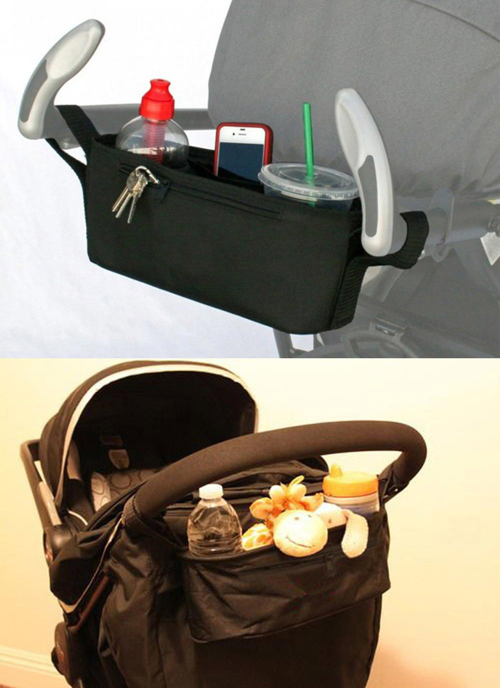 Portable Black Polyester Babies Stroller Cup Bag Organizer