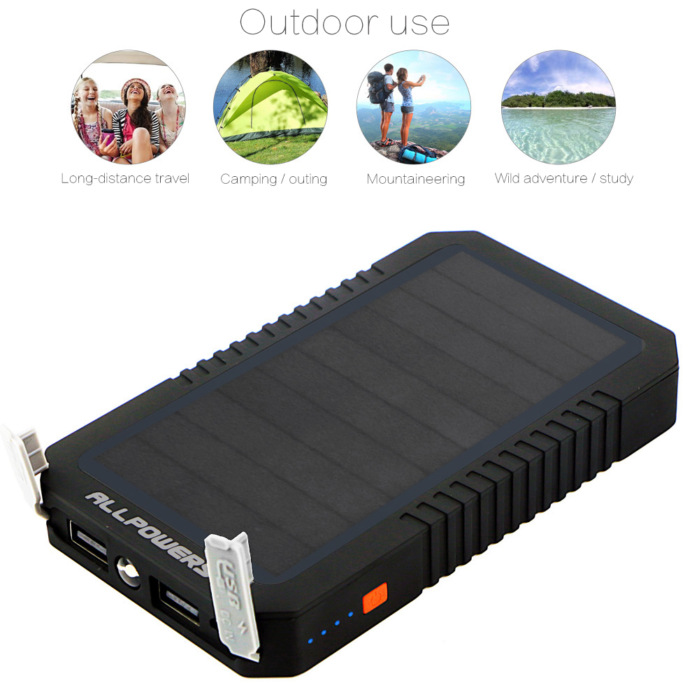 ALLPOWERS 12000mAh LED Torch Monocrystalline Silicon Solar Panel Power Bank