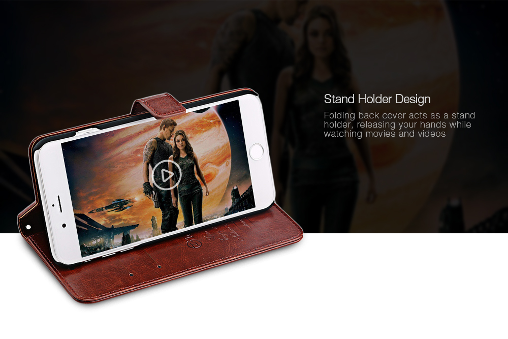 Tomkas Crazy Horse Series Magnetic Flip PU Leather Stand Case Wallet Cover for iPhone 7
