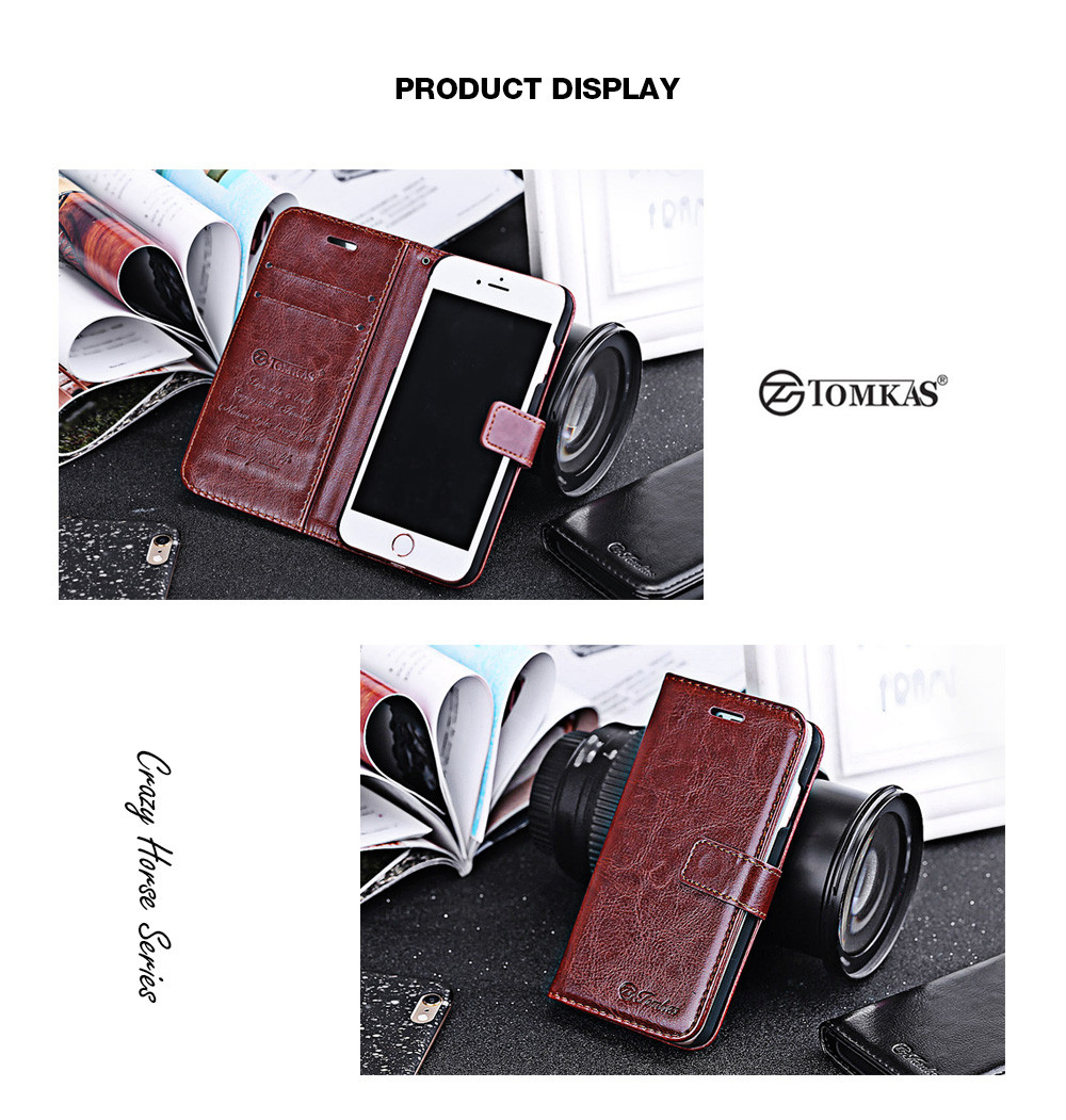 Tomkas Crazy Horse Series Magnetic Flip PU Leather Stand Case Wallet Cover for iPhone 7 Plus