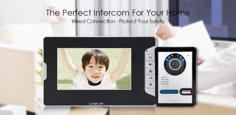 Smartlife SY813FA12 7 inch Video Phone Doorbell Intercom System with 2 Monitor