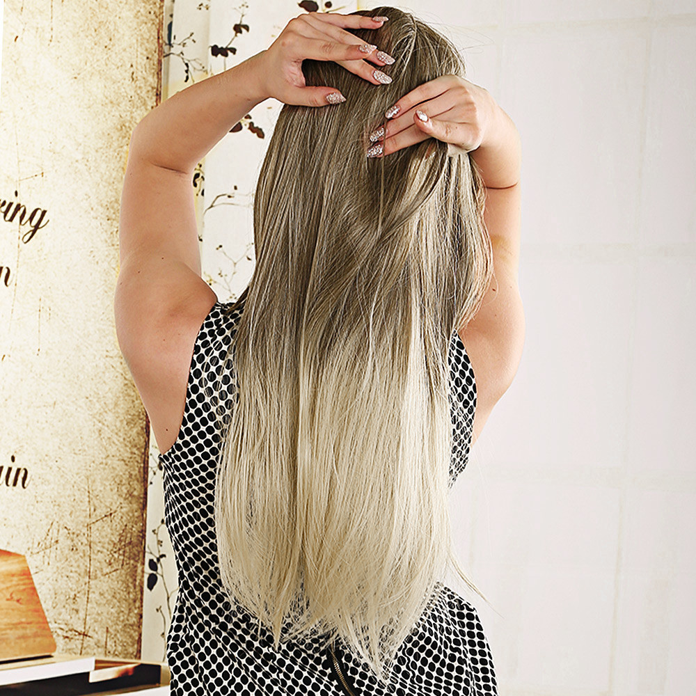 Women 70CM Long Straight Blonde Ombre Wig Synthetic Heat Resistant Natural Hair