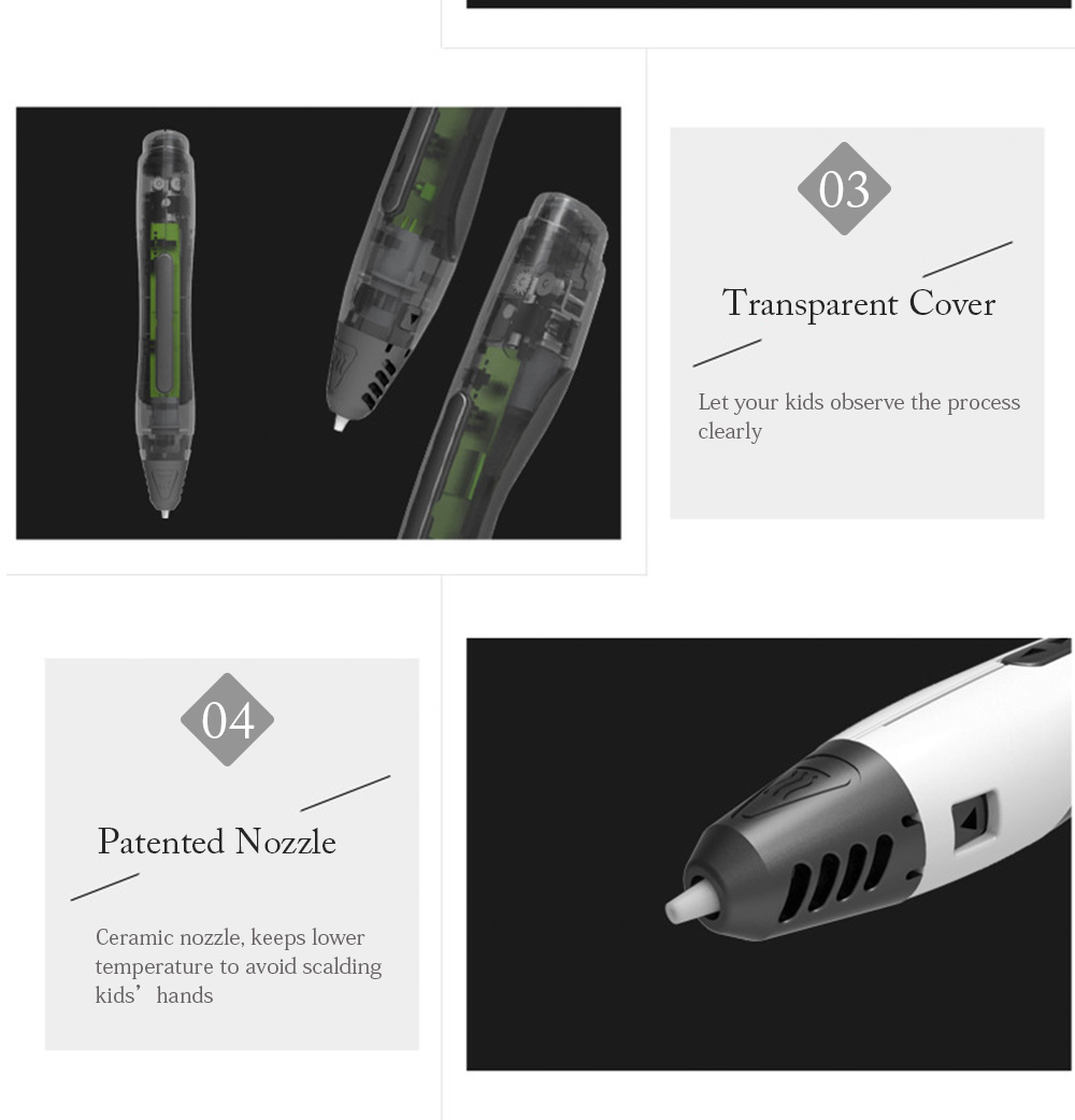 SUNLU the Fourth Generation SL - 400 DIY Intelligent 3D Print Pen Creative Toy Compatible with PLA Filament