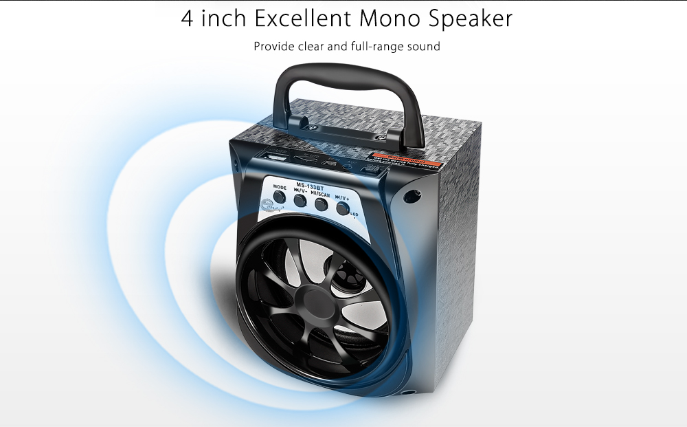 eonec MS - 113BT Bluetooth Portable Speaker with LED Lights 4 inch Driver Unit