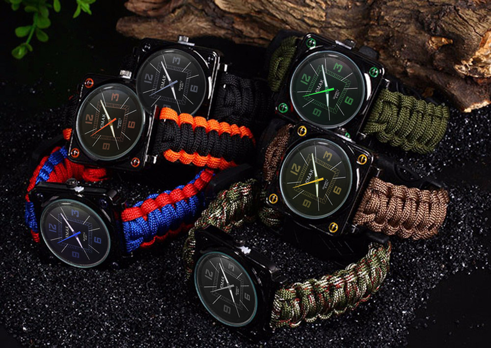EMAK Paracord Outdoor Watch with Survival Compass Whistle Fire Starter Watchband Bracelet