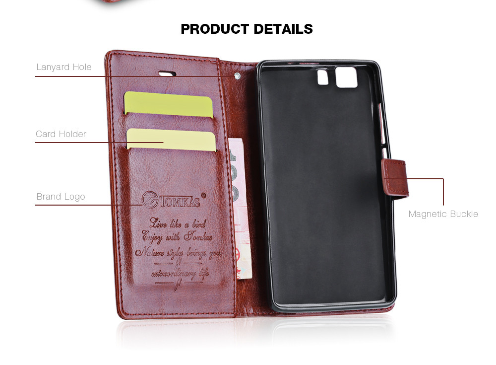 Tomkas Crazy Horse Series Magnetic Flip PU Leather Stand Case Wallet Cover for DOOGEE X5