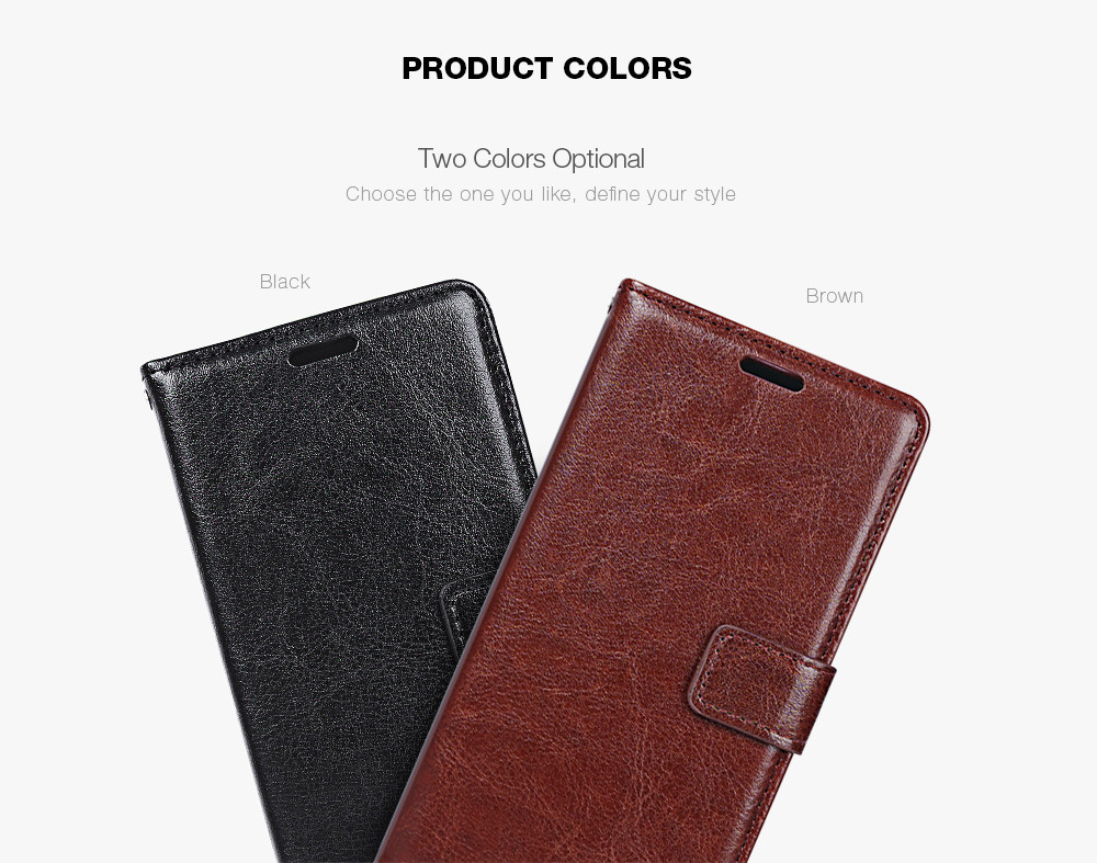 Tomkas Crazy Horse Series Magnetic Flip PU Leather Stand Case Wallet Cover for Meizu 3S