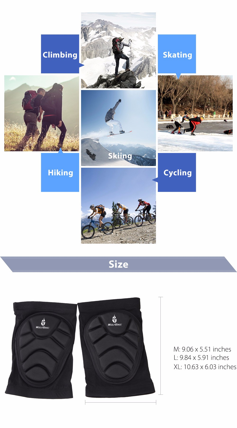 WOLFBIKE BC314 Paired Elastic Knee Pad Breathable Leg Sleeve Kneepad Protector for Football Basketball Skiing