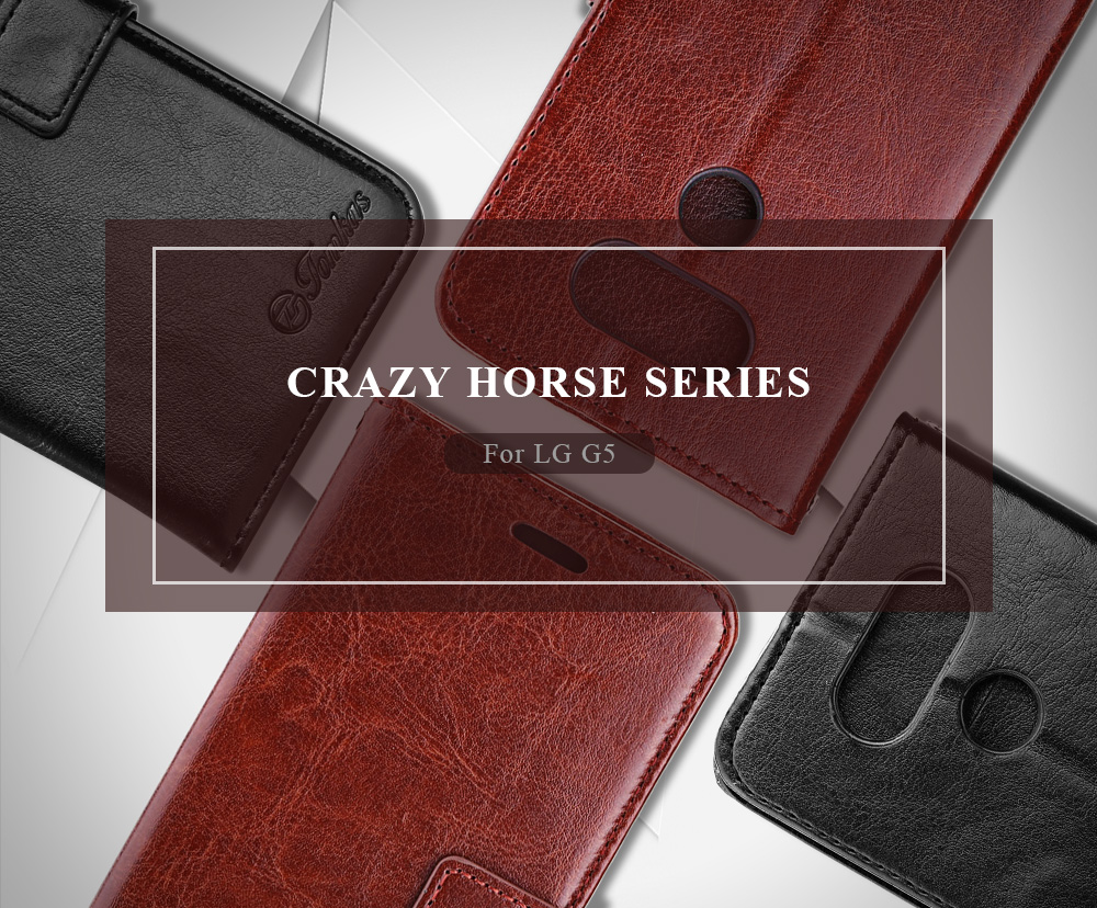 Tomkas Crazy Horse Series Magnetic Flip PU Leather Stand Case Wallet 2 in 1 Card Slot Design for LG G5
