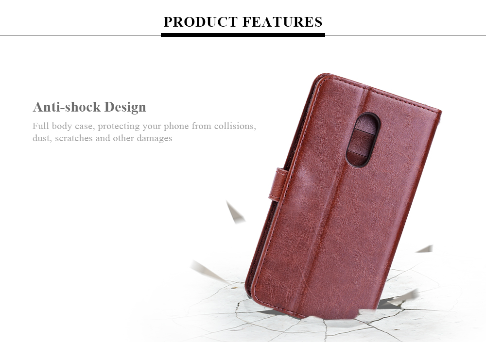 Tomkas Crazy Horse Series Magnetic Flip PU Leather Stand Case Wallet 2 in 1 Card Slot Design for Xiaomi Redmi Note 4