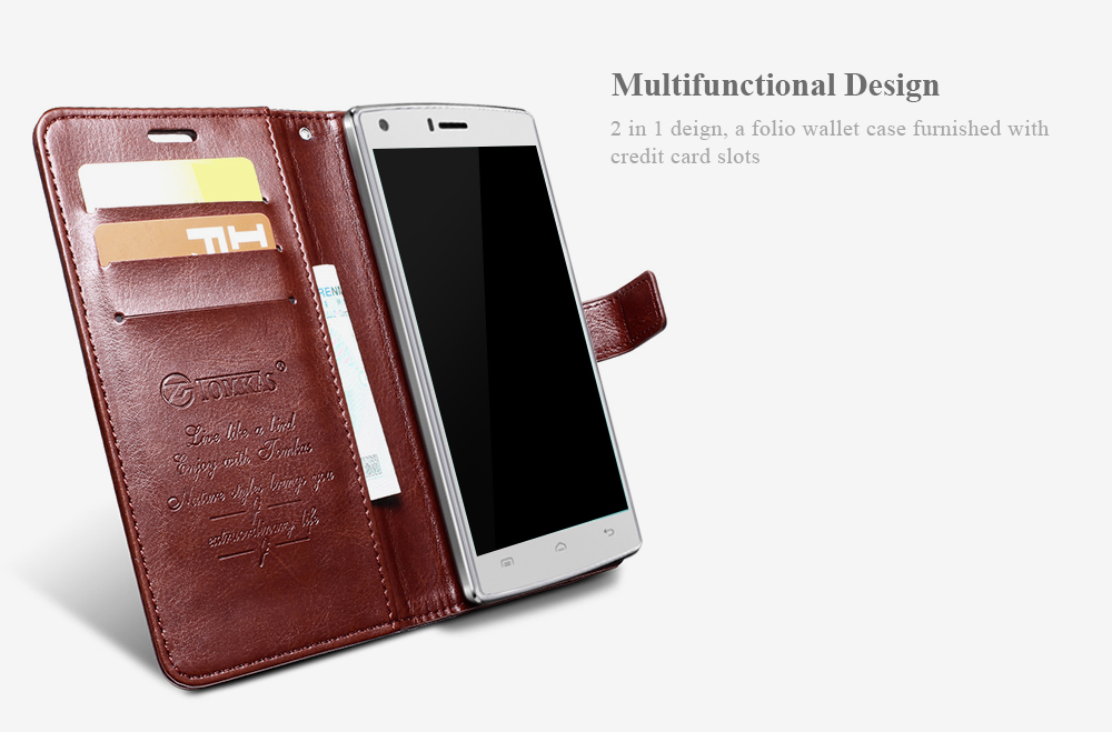 Tomkas Crazy Horse Series Magnetic Flip PU Leather Stand Case Wallet 2 in 1 Card Slot Design for DOOGEE X5 Max