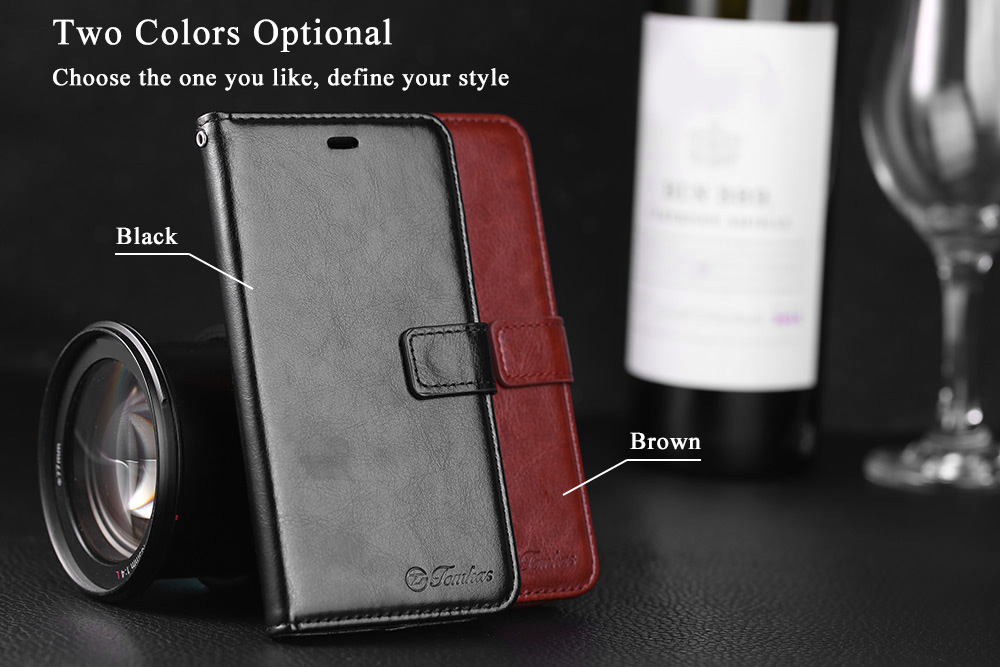 Tomkas Crazy Horse Series Magnetic Flip PU Leather Stand Case Wallet 2 in 1 Card Slot Design for Xiaomi 5S
