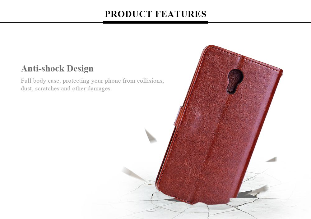 Tomkas Crazy Horse Series Magnetic Flip PU Leather Stand Case Wallet 2 in 1 Card Slot Design for Meizu M3 Note