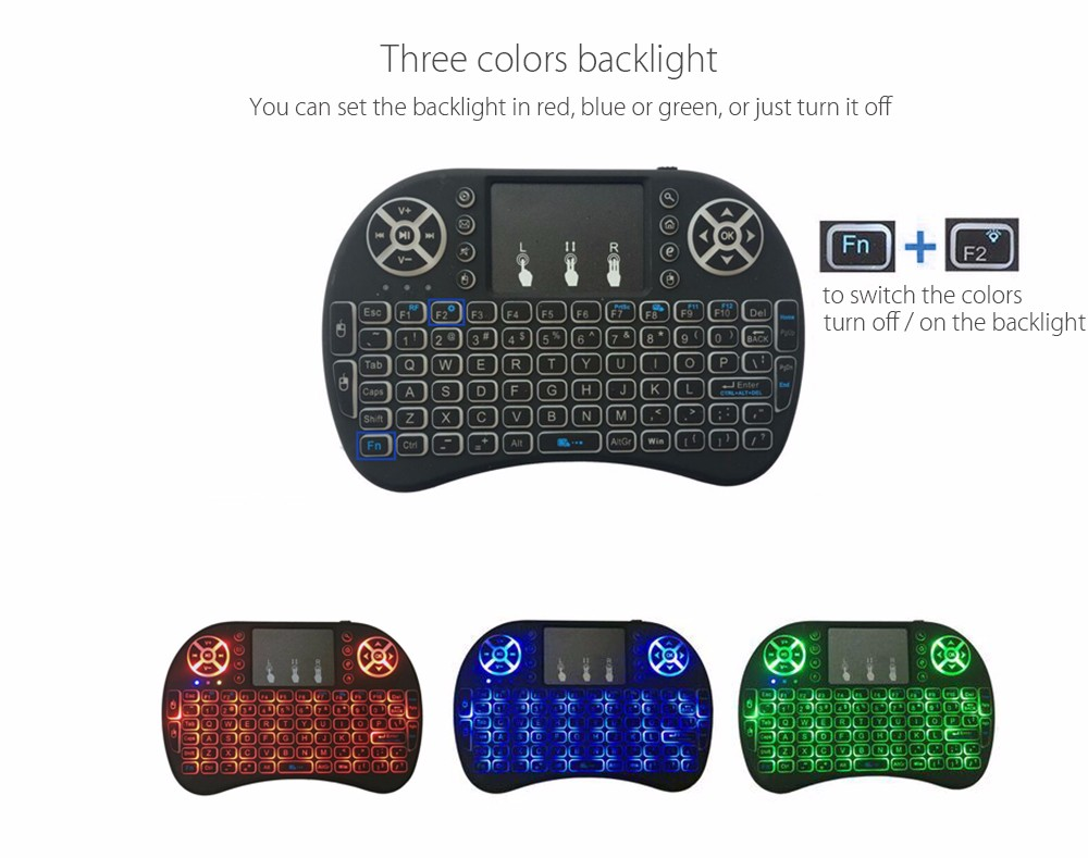 I8 Multifunction Portable 2.4GHz Wireless QWERTY Backlit Keyboard with Touchpad Mouse