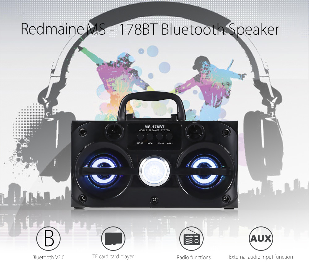 Redmaine MS - 178BT Multimedia Bluetooth Speaker FM Radio Player TF Card Playing AUX Stereo