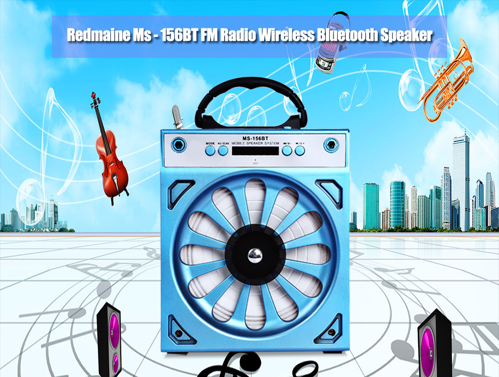 Redmaine MS - 156BT Portable High Power Output Multimedia FM Radio Wireless Bluetooth Speaker