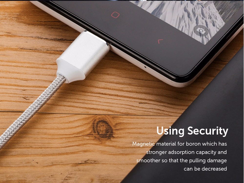 Moizen M2 Magnetic Micro USB Adapter Charging Data Transmission Cable 1M