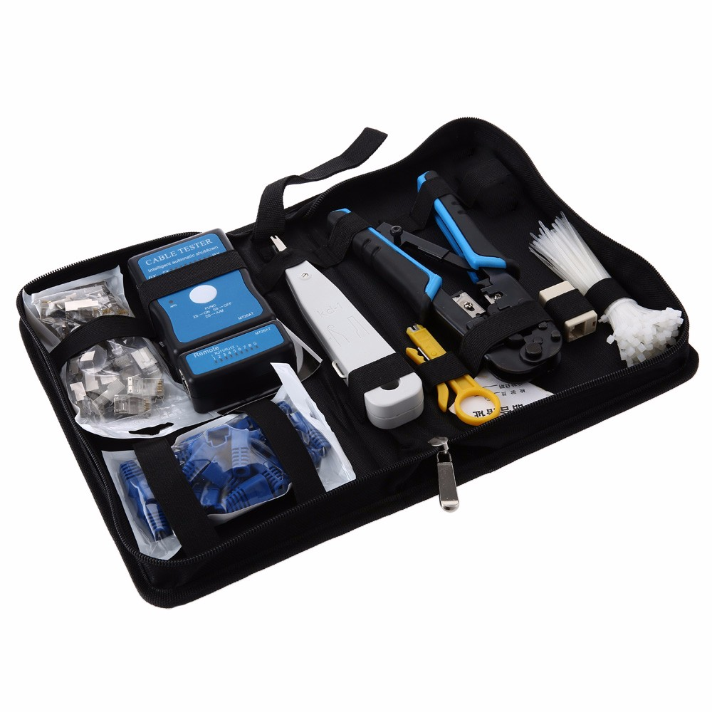 9 in 1 Network Computer Maintenance Repair Kit 568 Network Pliers / Cable Tester / Wire Cutter Tool Set