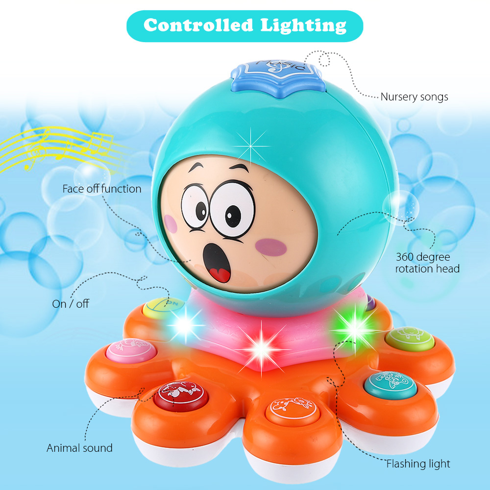 KUNSHENG Funny Octopus Animal Face Off Electric Musical Piano Kids Educational Toy