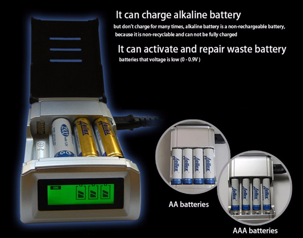 Palo NC05 4 Slots LCD Charger for AA / AAA NiCd NiMh Batteries