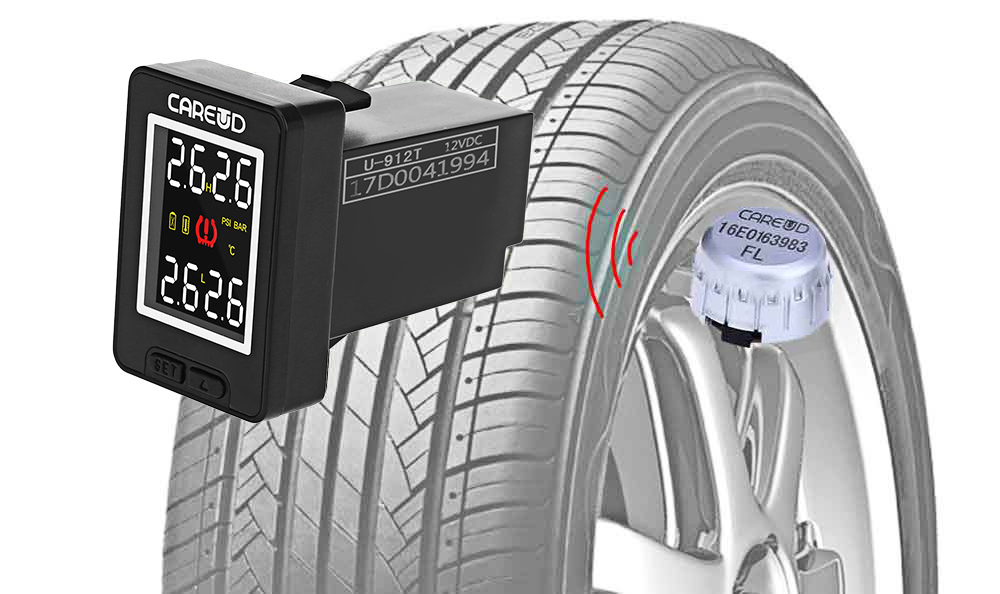 U912 433.92MHz Wireless TPMS Tire Pressure Monitoring System 4 External Sensors for Toyota