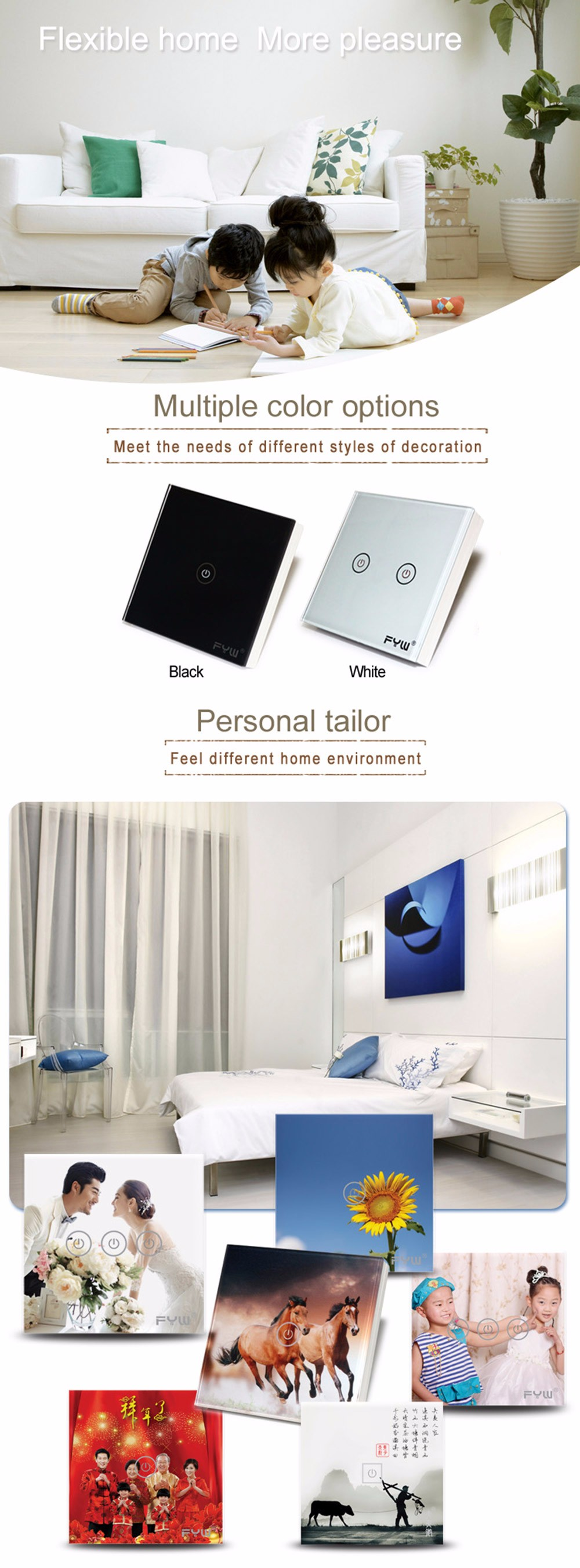 FYW Touch Remote Wall Switch 2 Gang Smart Control On-off for Home Supplies
