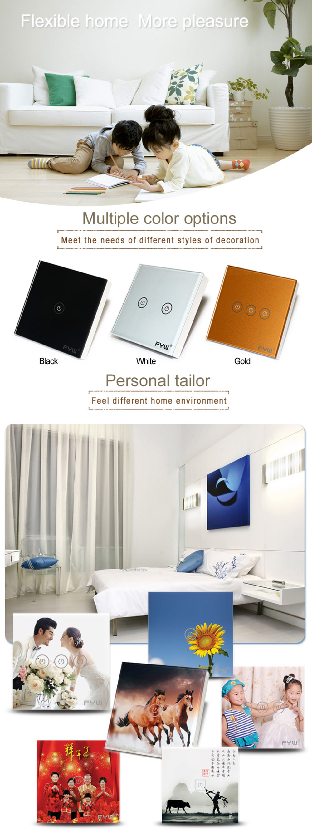 FYW Touch Remote Wall Switch 3 Gang Smart Control On-off for Home Supplies