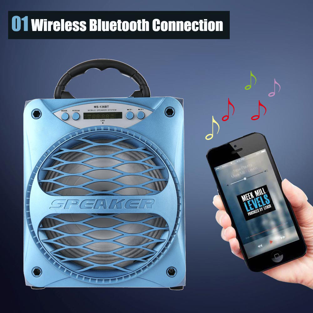 Redmaine MS - 136BT Large Output Wireless Bluetooth Square Speaker Support AUX TF Input FM Radio