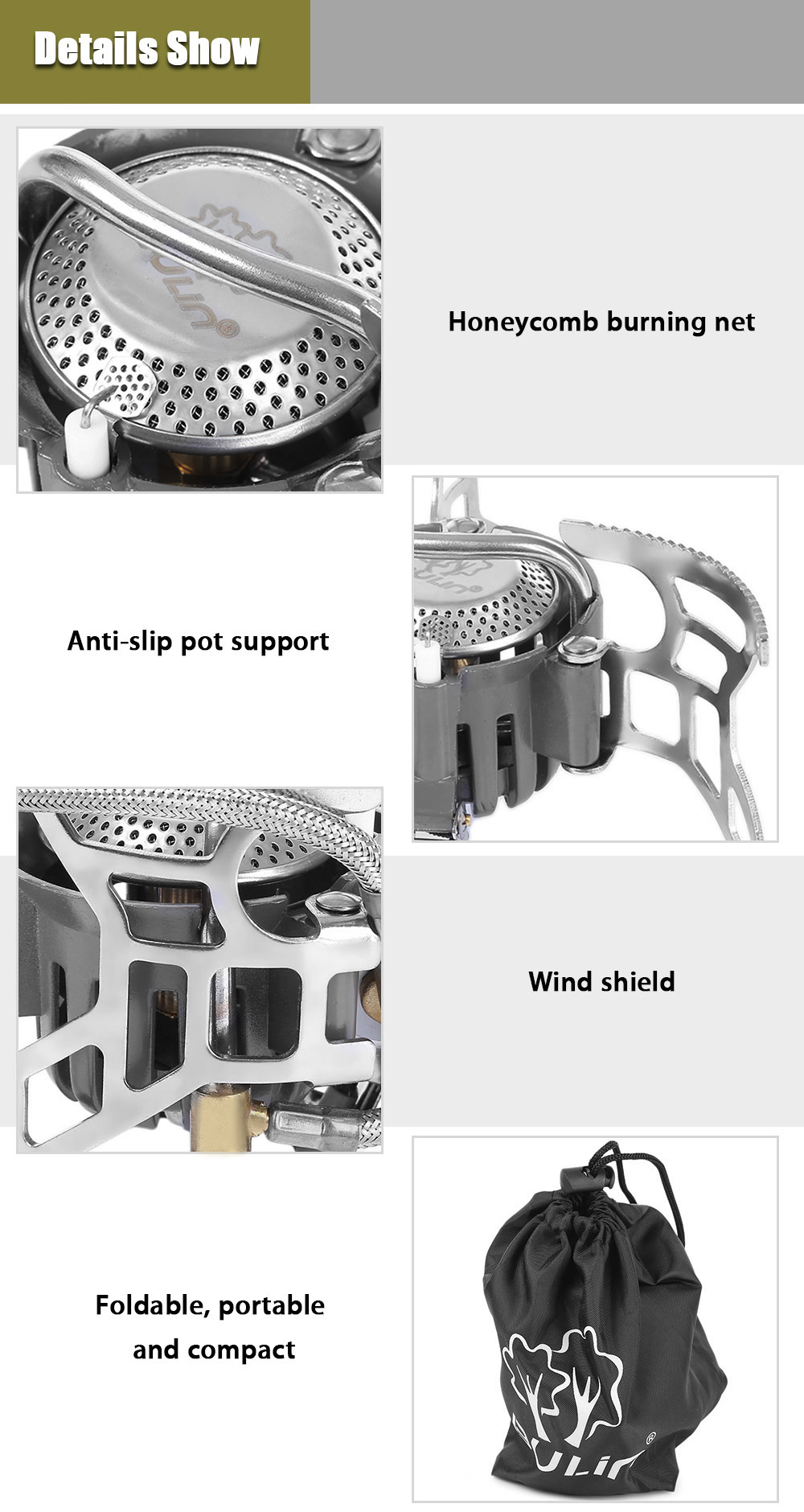 BULIN BL100 - T4 - A Outdoor Camping Picnic Foldable Split Gas Stove Portable BBQ Gear
