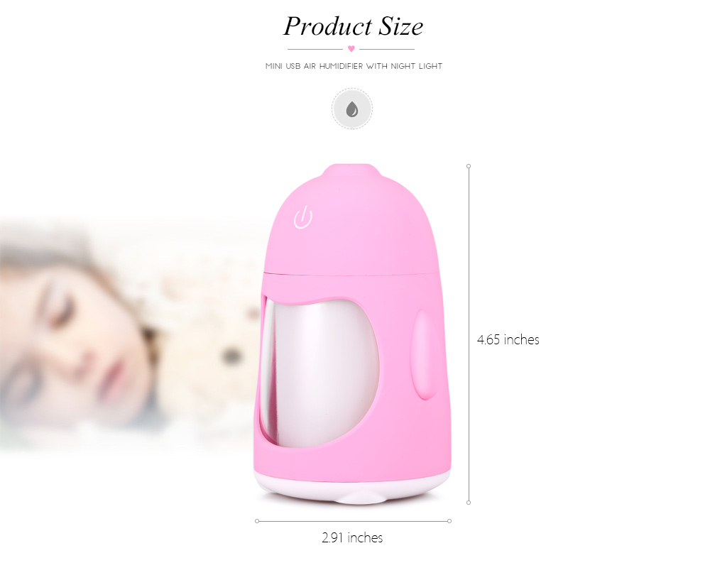 Mini USB Air Humidifier with Night Light