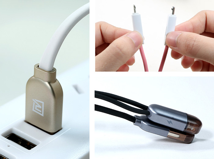 REMAX 2 in 1 8Pin Micro USB Interface Fast Charging Data Sync Cable with Flat Design 1m
