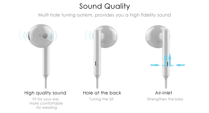 Huawei Original AM115 Stereo Sound In-ear Earphone 3.5mm Jack Headphone with Microphone